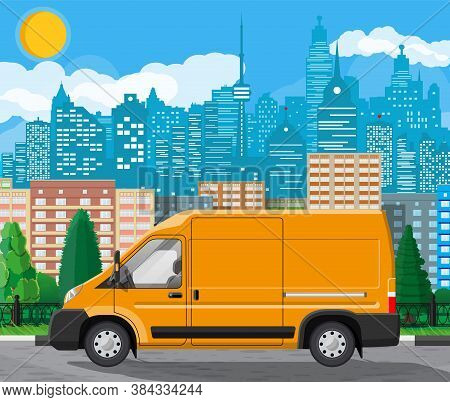 Orange Delivery At Cityscape Background. Express Delivering Services Commercial Truck. Concept Of Fa