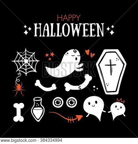 Ghosts, Spider Web With Little Spider, Coffin, Staring Eyes, Potion, Bones Icons. Set, Collection Of