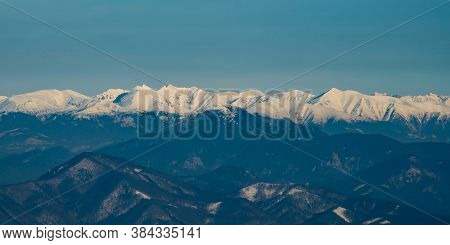 View To Velka Fatra And Tatra Mountains From Martinske Hole In Winter Mala Fatra Mountains In Slovak