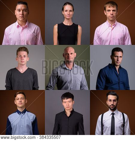 Collage Of Diverse Multi Ethnic Business People