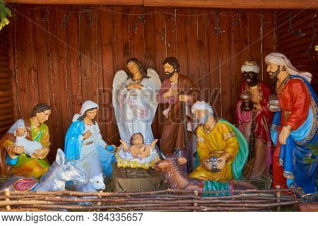 Christmas Nativity Scene, Christmas Statues Of The Nativity Scene Jesus In The Hay, Mary With Joseph