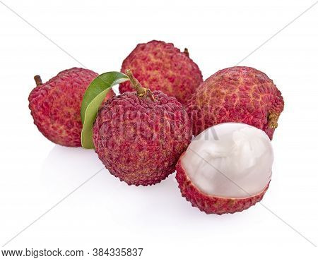 Fresh Lychees And Lychee Leave Isolated On White Background