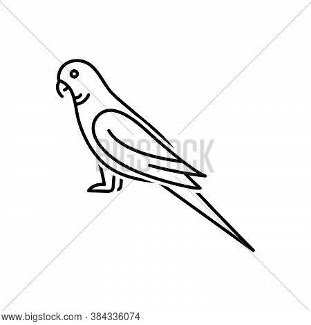 Black Line Icon For Parrot Lovebird Pet Bird Friendly Green Macaw Cockatoo Parakeet Kea Fly Freedom