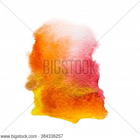 Watercolor Spots, Streaks - Autumn Colors - Red, Yellow, Orange.
