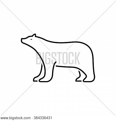 Black Line Icon For Bear Grizzly Bruin Brown-bear Hunting Omnivores Badge Mammal Fauna Predator Anim