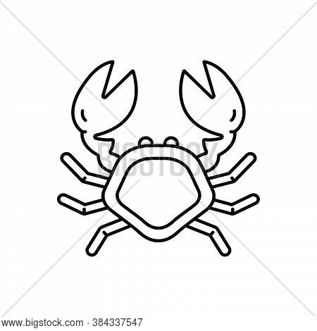 Black Line Icon For Crab Lobster Pagurian Crustacean Underwater Mammal Fish Animal Marine