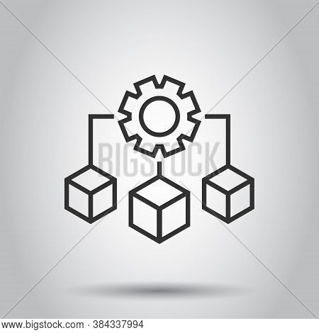 Api Technology Icon In Flat Style. Algorithm Vector Illustration On White Isolated Background. Gear