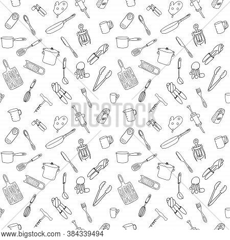 Seamless Pattern With Elements Of Kitchen Utensils, Utensils And Appliances. Black-white Background