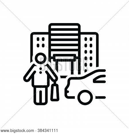 Black Line Icon For Customer Shopper Bag Clientele Shopping-mall Purchaser Vendee Consumable Shoppin