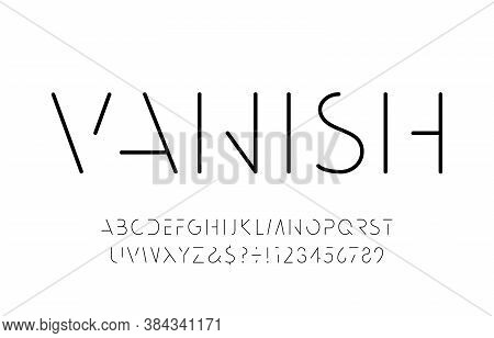 Vanish Alphabet Font. Minimalistic Letters And Numbers. Stock Vector Typescript For Your Typography