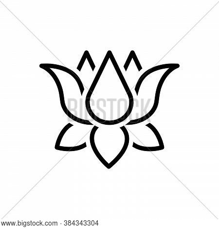 Black Line Icon For Lotus Nenuphar Nymphaea Indian-lotus Yoga Water-lily Nelumbo Harmony Meditation