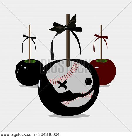 Holidays Element. Caramel Apple. Halloween Party  Black Poison Apples. Disguise, Camouflage,fancy Dr