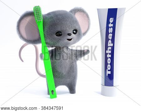 3d Rendering Of An Adorable Kawaii Furry Smiling Mouse Holding A Very Big Green Toothbrush, Looking