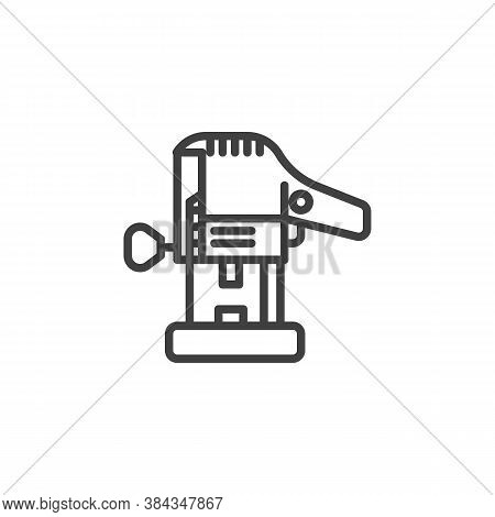 Wood Router Tool Line Icon. Linear Style Sign For Mobile Concept And Web Design. Electric Trimmer Ou