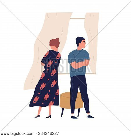 Annoyed Couple Standing Back To Back With Crossed Arms. Scene Of Family Breakup Or Conflict. Offende