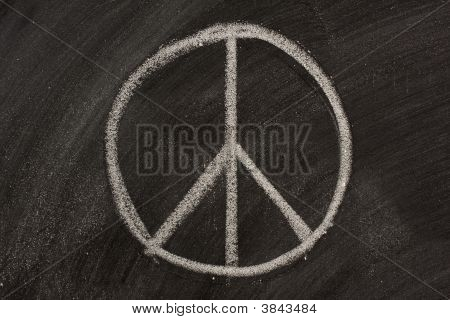 Peace Symbol On A Blackboard