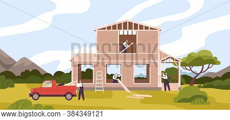 Group Of Male Constructors Building Residential House Vector Flat Illustration. Foreman Carrying Con