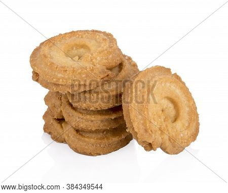 Danish Butter Cookies, Butter Cookies  Isolated On White Background