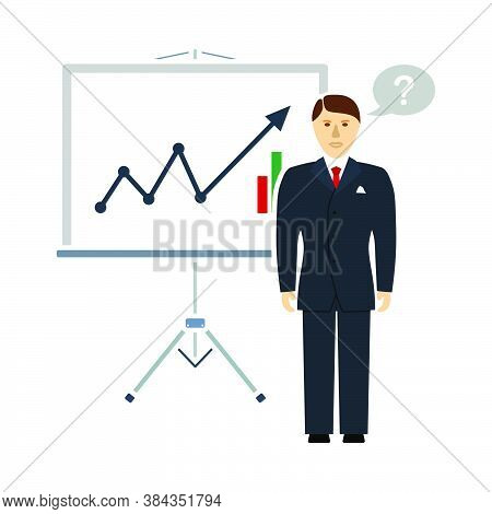 Clerk Near Analytics Stand Icon. Flat Color Design. Vector Illustration.