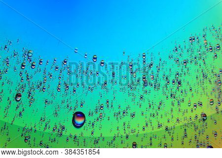 Abstract Colorful Water Drop Macro Photography Stock Photo