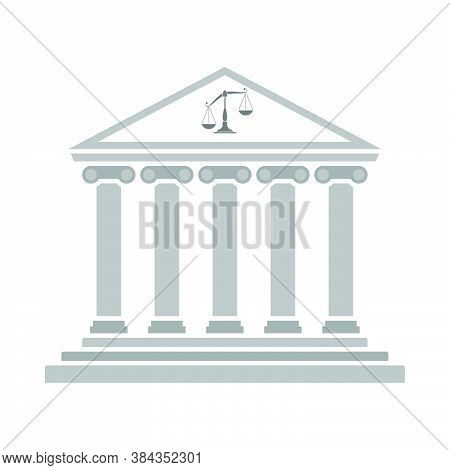 Courthouse Icon. Flat Color Design. Vector Illustration.