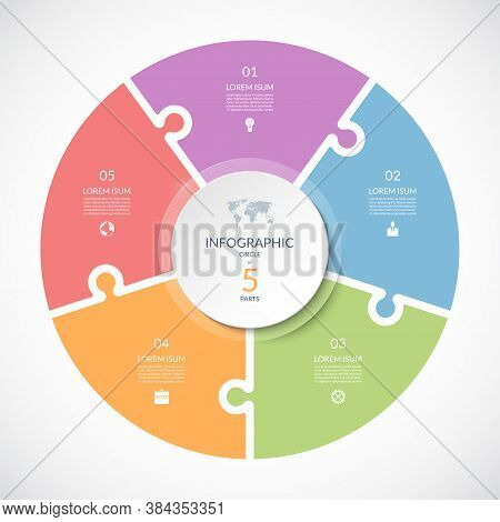 Vector Infographic Puzzle Circular Template. Cycle Diagram With 5 Parts, Options. Can Be Used For Ch