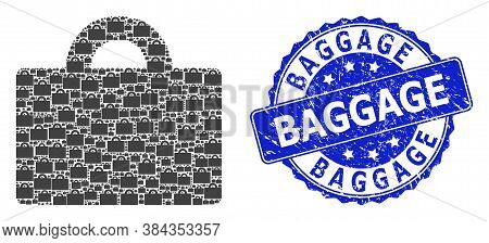 Baggage Rubber Round Seal Print And Vector Recursion Collage Baggage. Blue Stamp Seal Has Baggage Ta