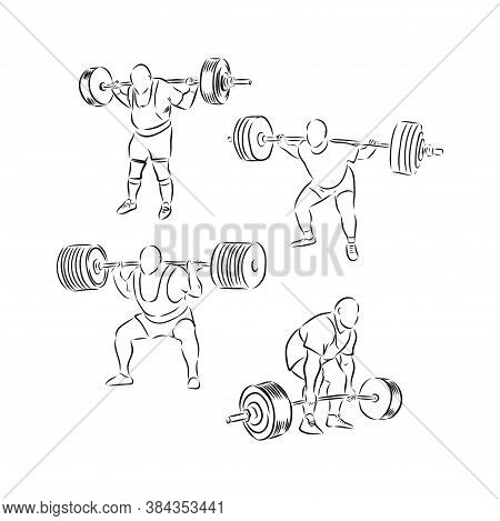 Sporty Man Lifting A Heavy Weight Barbell In The Gym. Strong Sportsman Doing Exercise With Barbell.