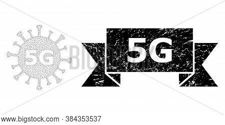 5g Scratched Seal Print And Vector 5g Virus Mesh Model. Black Stamp Seal Contains 5g Tag Inside Ribb