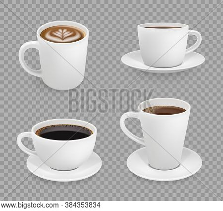 Coffee Cup. Breakfast Hot Drinks Espresso Cappuccino With Foam Cup Vector Realistic. Illustration Br
