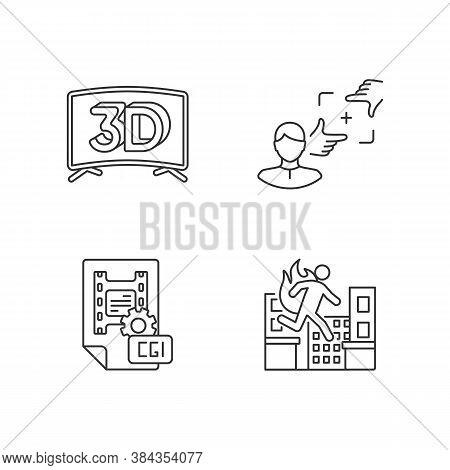 Film Production Linear Icons Set. 3d Television. Cgi For Animation. Professional Stuntman. Customiza