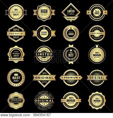 Badges Collection. Premium Promo High Quality Logos Or Badges Warranty Stamps Vector Shape. Badge La