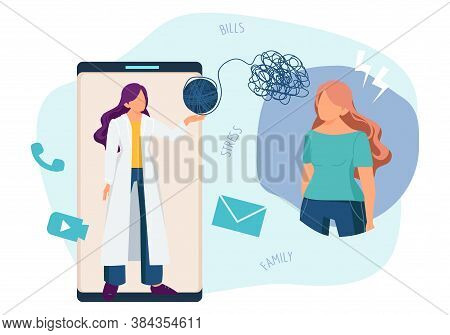 Online Therapist. Psychotherapy, Phone Psychology Consultation. Telemedicine, Doctor And Patient Wit