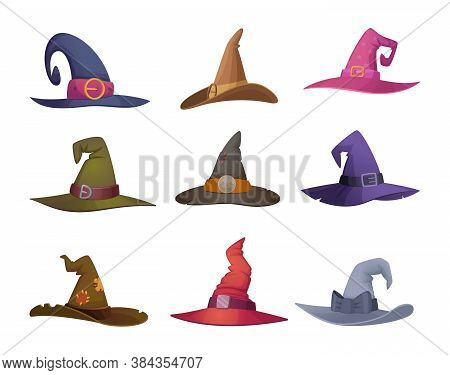 Halloween Hat. Cap For Witch Scary Symbols For Halloween Party Celebration Fashioned Black Female Cl