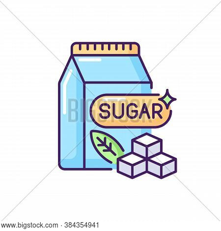 Sugars Rgb Color Icon. Crystal Cubes. Refined Powder In Packaging. Supermarket Product. Condiment In
