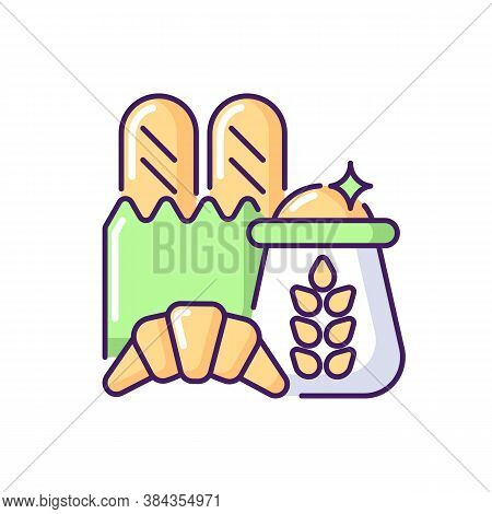 Carbohydrate Rgb Color Icon. Wheat Ingredient In Foodstuff. Nutritious Load. Food Group For Dietary