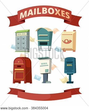 Mail Boxes. Containers For Post Letters Vector Illustrations Set. Post Container, Box For Envelope,