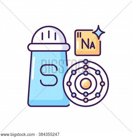 Sodium Rgb Color Icon. Condiment For Food. Salt In Package. Molecular Structure. Chemistry For Foods