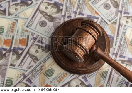 Gudges Hammer On Money. Dollars And Justice. Corrupt Court. Trial Of Money Scammers