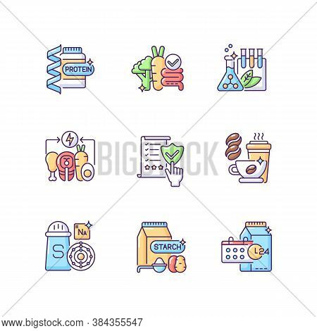 Nutrient Food Rgb Color Icons Set. Protein Supplement. Fibre For Digestion. Chemical Preservative. E