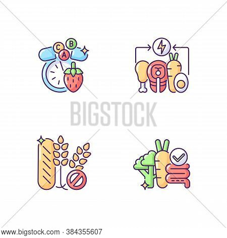 Food Groups Rgb Color Icons Set. Vitamin And Mineral. Dietary Supplement. Energy Value In Food. Glut