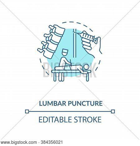 Lumbar Puncture Concept Icon. Central Nervous System Diseases Diagnostics Idea Thin Line Illustratio