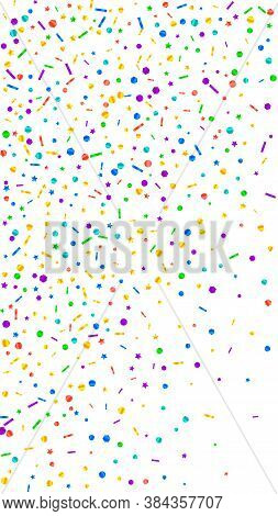 Festive Delicate Confetti. Celebration Stars. Festive Confetti On White Background. Grand Festive Ov