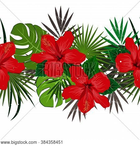 Seamless Vector Floral Summer Border With Tropical Palm Leaves And Hibiscus Flowers. Perfect For Wal