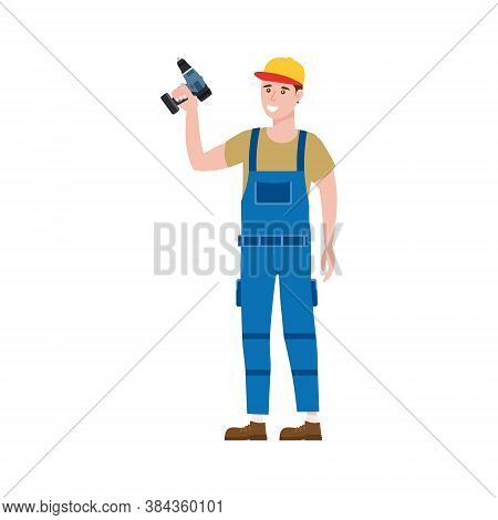 Construction Worker With Cordless Screwdriver Tool In Workwear. Craftsman Character Vector Isolated