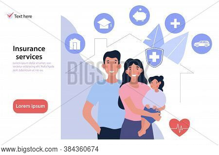 Comprehensive Family Insurance Web Page Template With Assorted Icons For House, Medical, Earnings An
