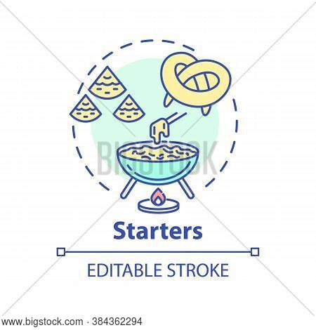 Starters Concept Icon. Delicious Before Meal Appetizers. Types Of Pastry. Tasty Restaurant Snacks Me