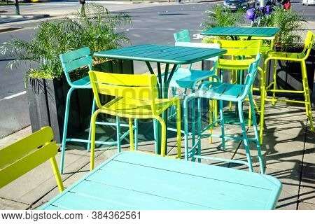 Colourful Outdoor Seating Tables And Chairs In Adelaide City Centre, South Australia