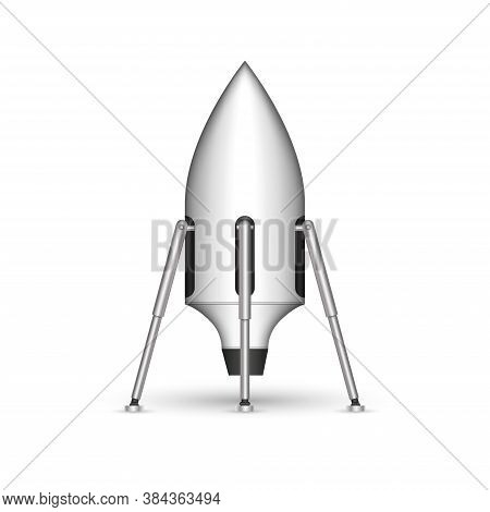 Reusable Space Rocket On Legs Futuristic Concept Mockup, Shuttle Realistic 3d Vector Model Isolated
