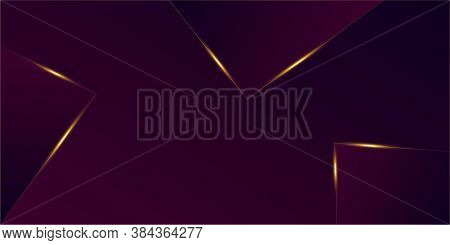 Purple Luxury Gold Background. Royal Rich Vip Business Poster 3d Abstract Polygonal Shiny Cover. Gol